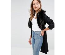 Langer Mantel aus Wollmischung mit übergroßem Kragen aus Kunstpelz Schwarz