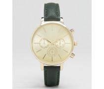 Uhr mit Kunstleder-Armband Grün