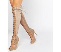 Overknee-Stiefel mit Ghillie-Schnürung in Braungrau Beige
