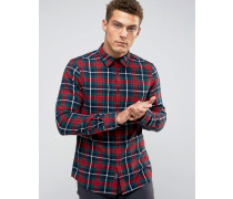 Salcombe Flanellhemd mit Schottenkaros in Rot/Grün, reguläre Passform Rot