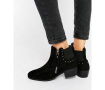 Chelsea-Stiefel mit flachem Absatz Schwarz
