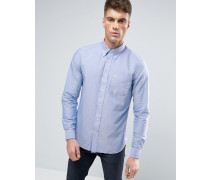 Blaues Oxford-Hemd mit Button-Down-Kragen in schmaler Passform Blau