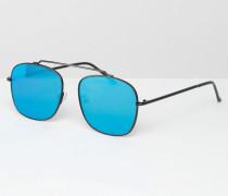 Pilotensonnenbrille mit flachen Gläsern Schwarz