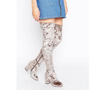 KATCH UP Stretch-Overknee-Stiefel aus Samt Grau