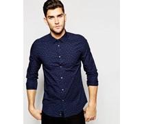 Hemd mit durchgehendem Muster Blau