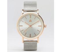 Schlichte Uhr mit silbernem und roségoldenem Mesharmband Silber