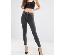 RIDLEY Enge Jeans in verwaschenem Schwarz mit Reißverschluss seitlich am Saum Schwarz