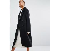 Zweireihiger Mantel Schwarz