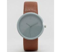 Elegante Uhr in Stahlgrau und Braun Braun