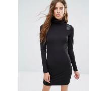 Rollkragen-Kleid mit Einsatz in Lederoptik Schwarz