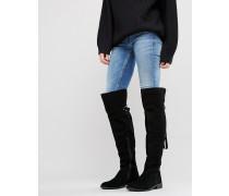 KAO Overknee-Stiefel aus Wildleder Schwarz