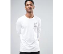 "Langärmliges Shirt mit ""Like Button""-Print Weiß"