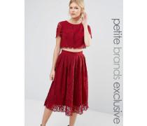 True Decadence Petite Ausgestelltes 2-in-1-Ballkleid aus Spitze Rot