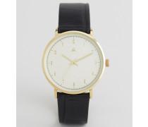 Boyfriend-Uhr mit schlichten Zifferblatt und schwarzem Armband in Kroko-Optik Schwarz