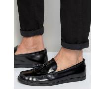 College-Schuhe aus schwarzem Leder mit Quasten Schwarz