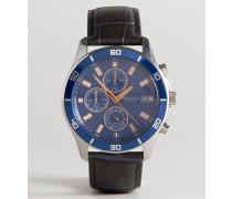 Chronograph mit Lederarmband in Schwarz Exklusiv bei ASOS Marineblau