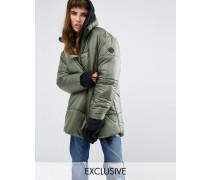 Oversize-Jacke zum Über-den-Kopf-ziehen mit halbem Reißverschluss Grün