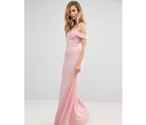Bridesmaid Schulterfreies Maxikleid mit Schwalbenschwanz-Design Rosa