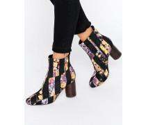RATTLE Ankle-Boots im Patchwork-Design Schwarz