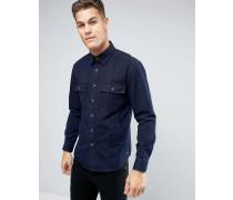 Denim-Hemdjacke in regulärer Passform Marineblau