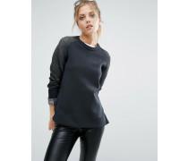 Premium Pullover mit Rundhalsausschnitt und Einsatz Schwarz