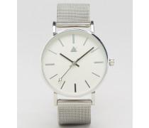 Silberne, schlichte Uhr mit Mesharmband Silber