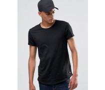Lang geschnittenes T-Shirt mit ungesäumter Kante Schwarz