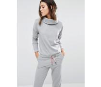 Glänzendes Sweatshirt mit Rollkragen Grau