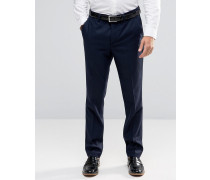 Schmale elegante Hose aus Wolle Marineblau