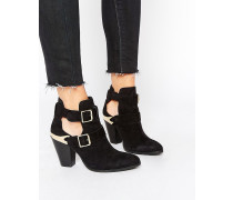 REALITY CHECK Ankle-Boots im Western-Stil aus Wildleder Schwarz