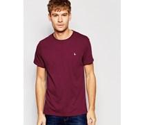 Exclusive Burgunderrotes T-Shirt mit Pfauenlogo Rot