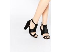 Sandalen aus Wildleder mit Blockabsatz Schwarz