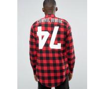 Kariertes, lang geschnittenes Hemd mit Rückenprint Rot