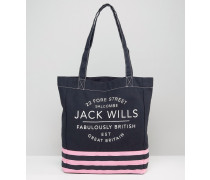 Einkaufstasche mit Streifen in Marine und Pink Mehrfarbig
