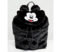 Disney x Mickey Mouse Rucksack aus Kunstpelz Schwarz