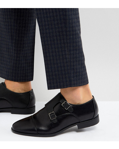 ASOS Herren Wide Fit - Monk - Schuhe aus schwarzem Kunstleder mit Prägung