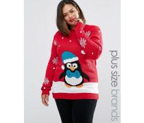 Plus Dancing Penguin Weichnachtspullover Rot
