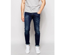 Enge Jeans in dunkler Waschung Blau