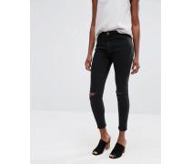 Jagger Skinny-Jeans mit Zierrissen am Knie Schwarz