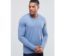 Blauer Pullover mit V-Ausschnitt Blau
