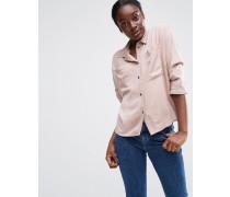 Weites Hemd mit Taschen und Fledermausärmeln Rosa