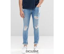 Brooklyn Supply Co Superenge Skinny-Jeans in heller Stone-Waschung mit Zierrissen Blau