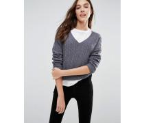 Ambleside Pullover mit Zopfmuster und V-Ausschnitt Grau
