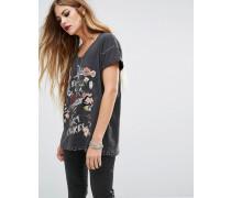 Oversized-T-Shirt mit Print und Verzierung Schwarz