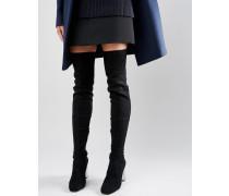 KALIDA Overknee-Stiefel mit transparentem Absatz Schwarz