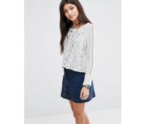 Pullover mit überkreuztem Zopfmuster Weiß