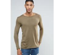 Leichter Pullover mit breitem Kragen Grün