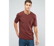 Flamé-T-Shirt mit ungesäumtem Ausschnitt und Tasche Rot