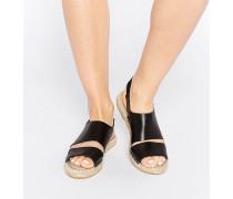 Jade Flache Espadrille-Sandalen aus schwarzem Leder Schwarz