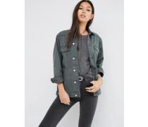 Denim-Girlfriend-Jacke in verwaschenem Khaki Grün
